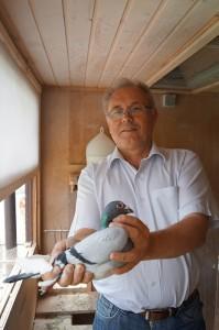"""Stefan Heibel mit dem Blauscheck Nr. 373 von Rudolf Flügel. Seine Kinder fliegen 1. Konkurse und machen zweistellige Preise. Sein """"passendes"""" Weibchen ist die Nr. 1111, ein Zucht-As. Ihre Mutter ist die NL -150."""